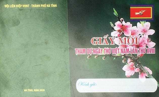 Giấy mời tham dự Ngày thơ Việt Nam tại Hà Tĩnh lần thứ XVIII
