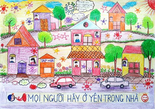 Chùm tranh của các em Trường THCS Hoàng Xuân Hãn về chủ đề phòng chống dịch Covid-19